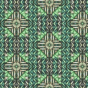 Art Deco Leaves and Waves - Green