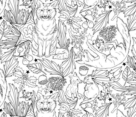 Fox Friends in Festive Foliage fabric by roguerens on Spoonflower - custom fabric