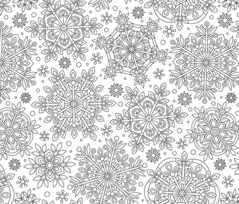Snowflakes coloring  fabric by olgart on Spoonflower - custom fabric