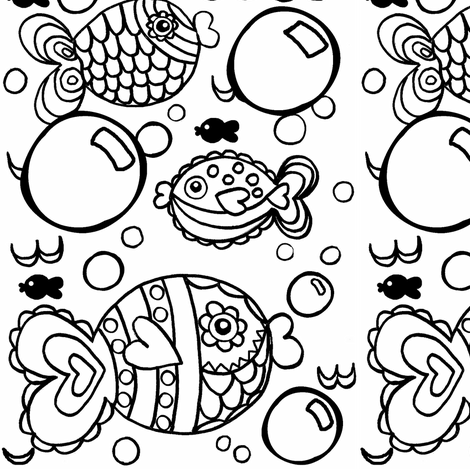 Swish Tail & Bubbles Coloring  fabric by franbail on Spoonflower - custom fabric