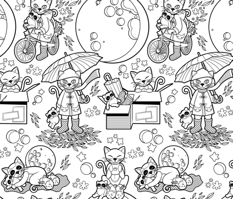 The cat who loves rainy nights // black & white fabric by selmacardoso on Spoonflower - custom fabric