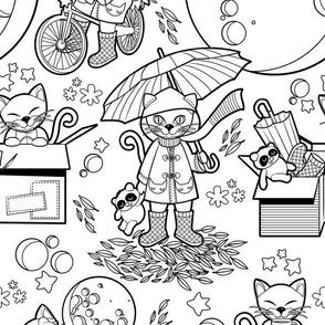 The cat who loves rainy nights // black & white