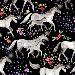 Mom and baby unicorns with stars on black
