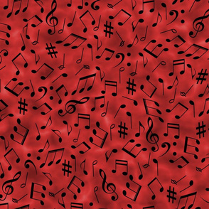 Scattered Music Notes on Red
