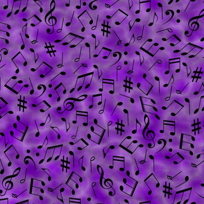 Scattered Music Notes on Purple