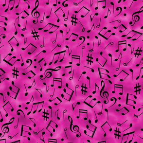 Scattered Music Notes on Pink