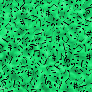 Scattered Music Notes on Green