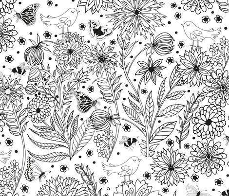Dahlia Garden Colouring fabric by jill_o_connor on Spoonflower - custom fabric