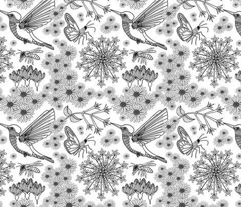 Bird, bee and butterfly fabric by sarah_twist on Spoonflower - custom fabric