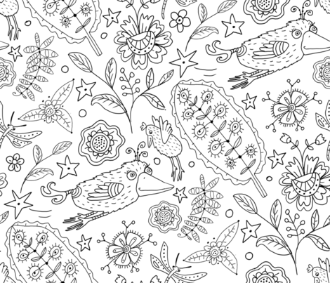 Coloring Book Birds & Flowers fabric by jennifergeldard on Spoonflower - custom fabric