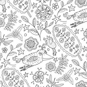 Coloring Book Birds & Flowers