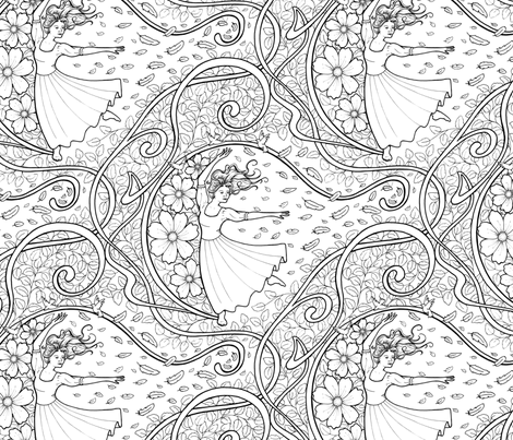 Dancing Girl  (Colour In) fabric by hazel_fisher_creations on Spoonflower - custom fabric