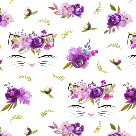 "2"" Purple Floral Cat Heads White fabric by lil'faye on Spoonflower - custom fabric"