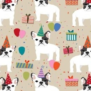 Frenchie birthday party.  Cute black and white french bulldog birthday wrap - beige