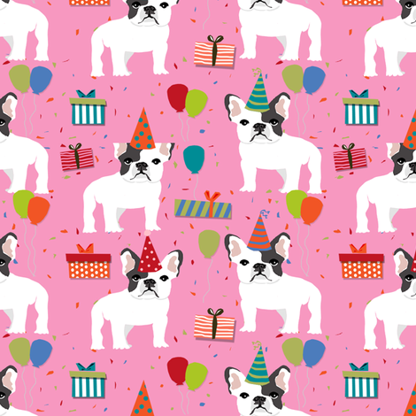 Frenchie birthday party.  Cute black and white french bulldog birthday wrap - pink fabric by petfriendly on Spoonflower - custom fabric