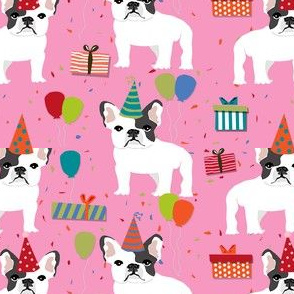 Frenchie birthday party.  Cute black and white french bulldog birthday wrap - pink
