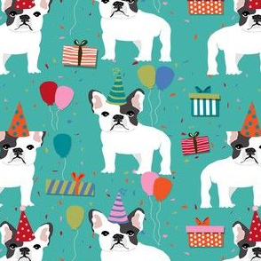 Frenchie birthday party.  Cute black and white french bulldog birthday wrap - turquoise
