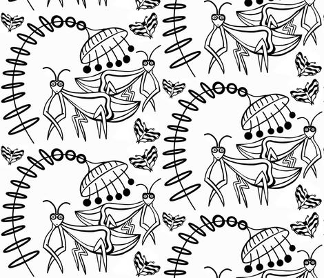 Chillen Praying Mantis sewindigo fabric by sewindigo on Spoonflower - custom fabric