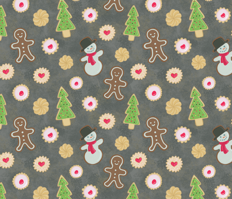 Gingerbread Cookies and Shortbread Holiday Treats fabric by crowlands on Spoonflower - custom fabric