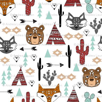 southwest animals // cactus tipi baby fox southwest nursery mint red bear raccoon animals cute aztec tribal