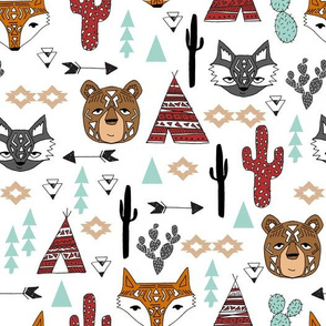 southwest animals // cactus tipi baby fox southwest nursery mint red bear raccoon animals cute aztec tribal