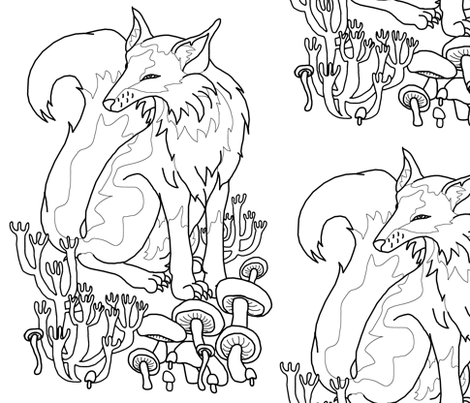 Coloring Book Fox and Mushrooms fabric by pond_ripple on Spoonflower - custom fabric
