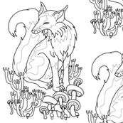 Coloring Book Fox and Mushrooms