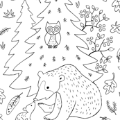 Mother bear and cub in the forest - coloring page