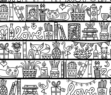 bookshelves fabric by laura_may_designs on Spoonflower - custom fabric