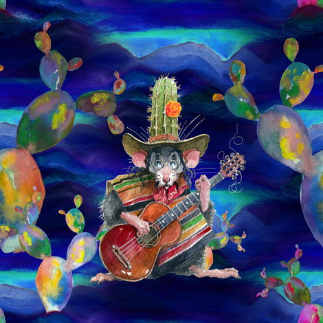 MUSIC DESERT MICE GUITAR PLAYER AND CACTUS INDIGO NIGHT fabric by floweryhat on Spoonflower - custom fabric