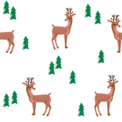 rudolph reindeer christmas deer santa's sleigh fabric for winter decor white green - smaller