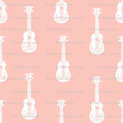 ukulele // musical instrument kids guitar fabric instruments music pattern pale pink