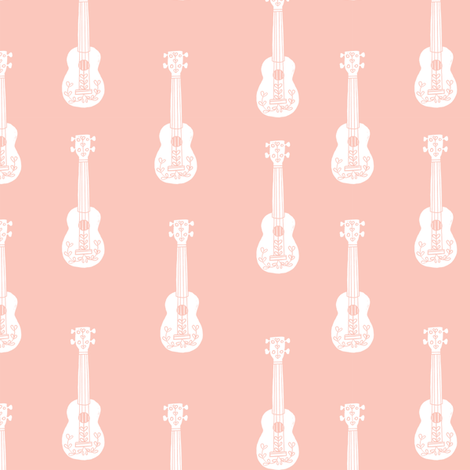 ukulele // musical instrument kids guitar fabric instruments music pattern pale pink fabric by andrea_lauren on Spoonflower - custom fabric