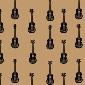 ukulele // musical instrument kids guitar fabric instruments music pattern brown