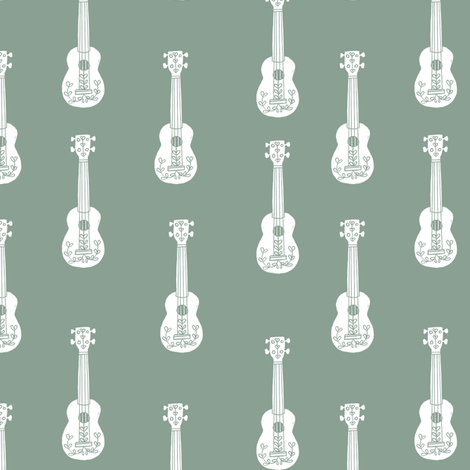 ukulele // musical instrument kids guitar fabric instruments music pattern pale green fabric by andrea_lauren on Spoonflower - custom fabric