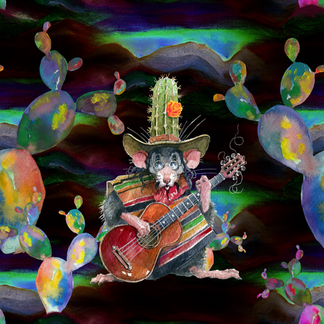 MUSIC DESERT MICE GUITAR PLAYER AND CACTUS BROWN NIGHT fabric by floweryhat on Spoonflower - custom fabric