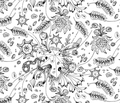 Lake Coloring Page Abstract Surrealism  Pattern fabric by nellik on Spoonflower - custom fabric