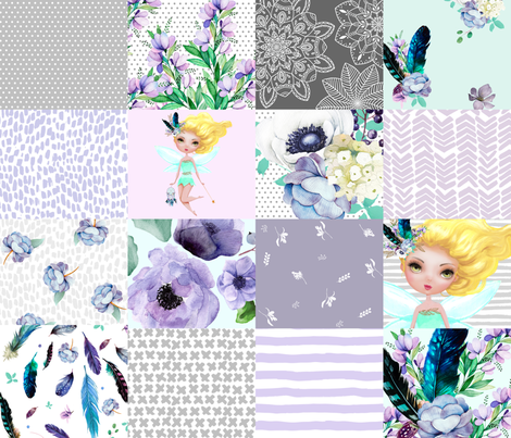 FAIRY / TEAL, AQUA, GREY & WHITE / WHOLE CLOTH / CHEATER QUILT  / VERSION 2 fabric by shopcabin on Spoonflower - custom fabric