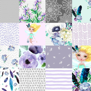 FAIRY / TEAL, AQUA, GREY & WHITE / WHOLE CLOTH / CHEATER QUILT  / VERSION 2 / Smaller Print  / MORE REPEATS