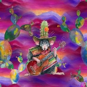 MUSIC DESERT MICE GUITAR PLAYER AND CACTUS BURGUNDY pink