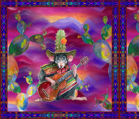 LARGE FRAMED MUSIC DESERT MICE GUITAR PLAYER AND CACTUS BURGUNDY PINK fabric by floweryhat on Spoonflower - custom fabric