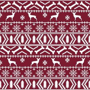 min pin fair isle silhouette christmas miniature doberman pinscher fabric pattern ruby