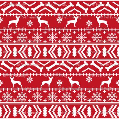min pin fair isle silhouette christmas miniature doberman pinscher fabric pattern red