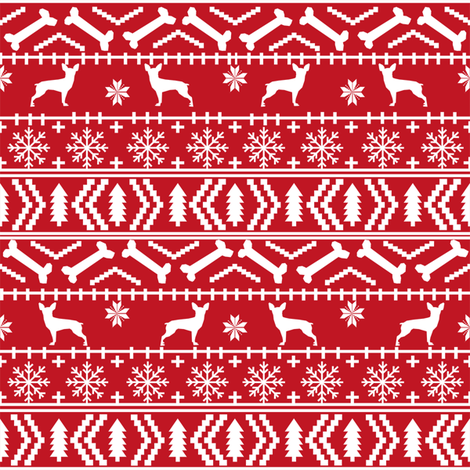 min pin fair isle silhouette christmas miniature doberman pinscher fabric pattern red fabric by petfriendly on Spoonflower - custom fabric