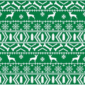 min pin fair isle silhouette christmas miniature doberman pinscher fabric pattern green