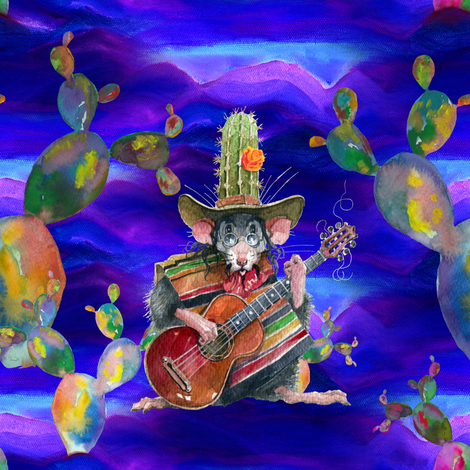MUSIC DESERT MICE GUITAR PLAYER AND CACTUS PURPLE NIGHT fabric by floweryhat on Spoonflower - custom fabric
