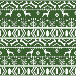 min pin fair isle silhouette christmas miniature doberman pinscher fabric pattern med green