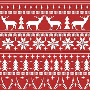 christmas deer fair isle traditional holiday fabric winter antlers red