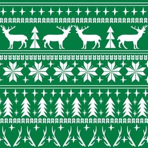 christmas deer fair isle traditional holiday fabric winter antlers green