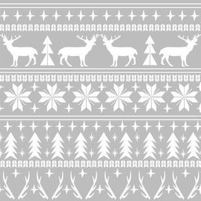 christmas deer fair isle traditional holiday fabric winter antlers grey